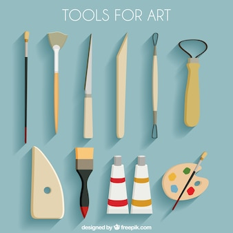 Conjunto de ferramentas para arte