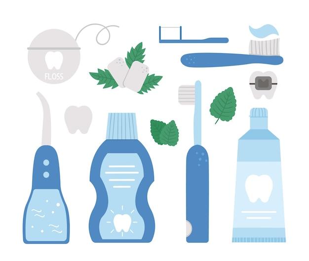 Conjunto de ferramentas para cuidados com os dentes. coleção de elementos para limpar os dentes.