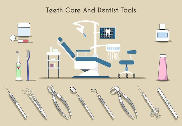 Conjunto de ferramentas para dentista e cuidados com os dentes