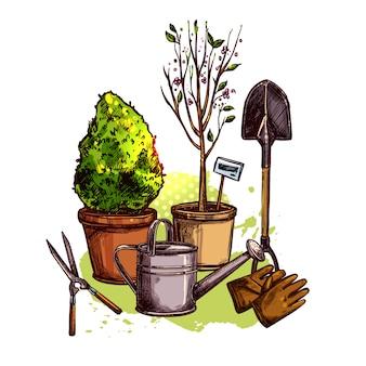 Conjunto de ferramentas para jardim