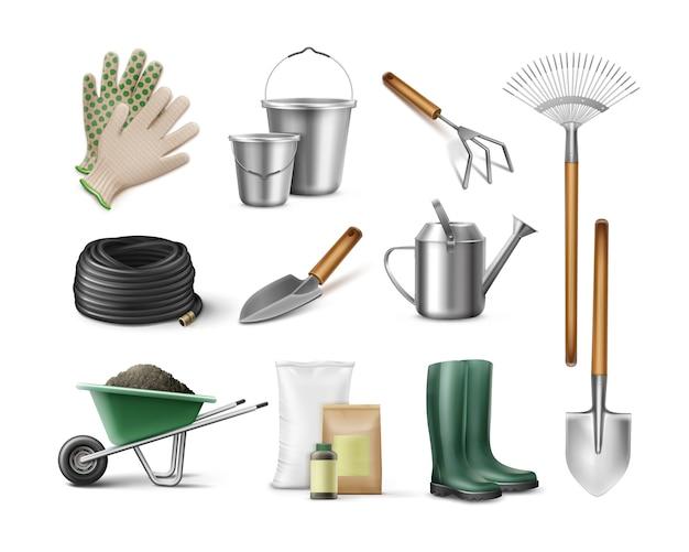 Conjunto de ferramentas para jardinagem e horticultura