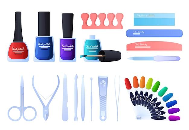 Conjunto de ferramentas para manicure, vernizes, lixas de unha, pinças, pinças.