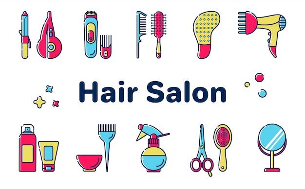 Conjunto de ferramentas para o salão de cabeleireiro