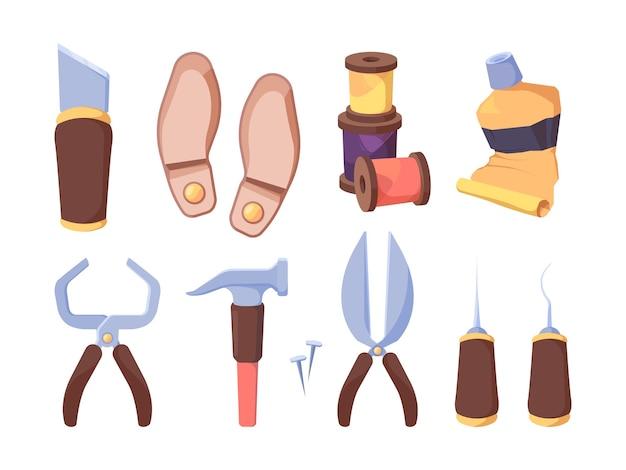 Conjunto de ferramentas para oficina de calçados