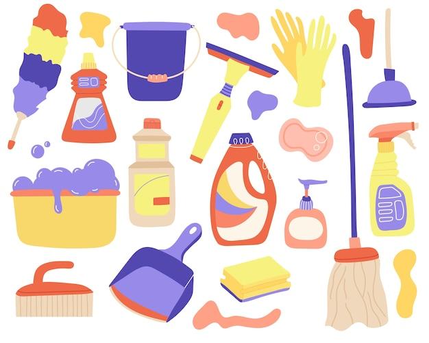 Conjunto de ferramentas planas para limpeza e lavagem.