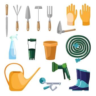 Conjunto de ferramentas profissionais cuidados jardim isolado no fundo branco, em estilo simples. colher de coleta, luvas, pote, mangueira, spray, regador, botas. símbolos da fazenda kit