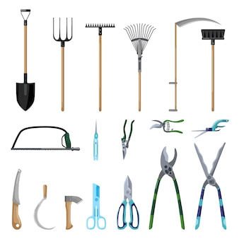 Conjunto de ferramentas profissionais cuidados jardim isolado no fundo branco, em estilo simples. tesoura de coleção, pá, forcado, vassoura, machado, foice, ancinho. símbolos da fazenda kit