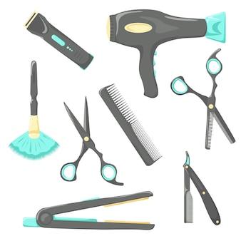 Conjunto de ferramentas vetoriais para cabeleireiro e produtos cosméticos para cuidados com os cabelos