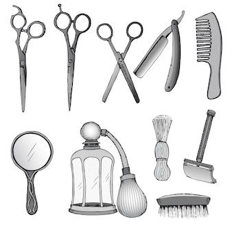 Conjunto de ferramentas vintage para cabeleireiro