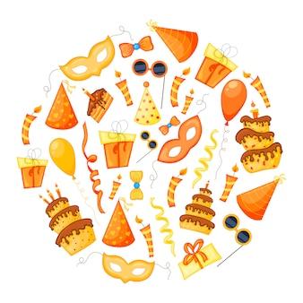 Conjunto de festa colorido de itens em um fundo branco. celebração do evento feliz aniversário. multicolorido. vetor.