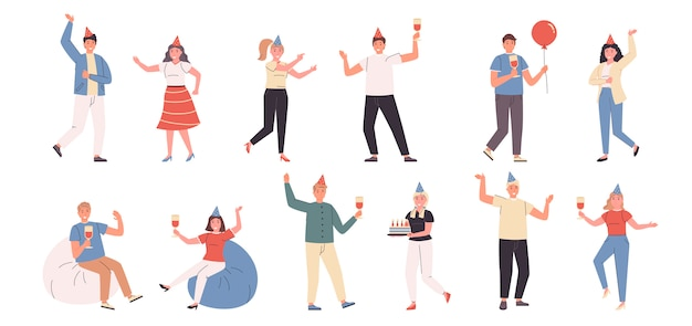 Conjunto de festa de aniversário, festa, diversão e dança plana