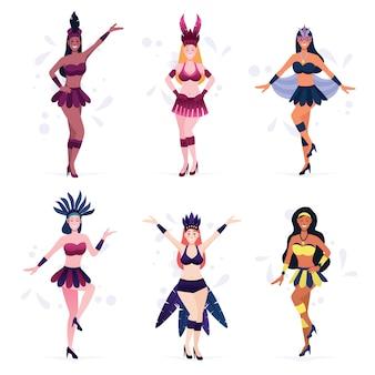 Conjunto de festa de carnaval de dançarina de mulheres