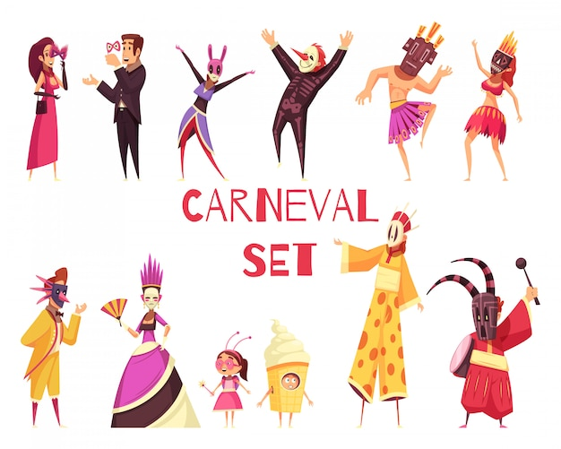 Conjunto de festa de carnaval