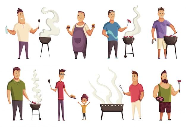 Conjunto de festa de churrasco de caráter. equipa com uma churrasqueira. piquenique com bife e salsichas. feliz sorrindo mans personagem cozinhar uma churrasqueira