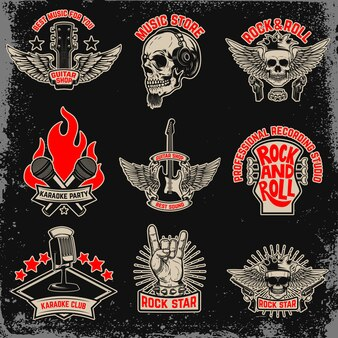 Conjunto de festa de música, emblemas de rock. elemento para logotipo, etiqueta, emblema, sinal. imagem