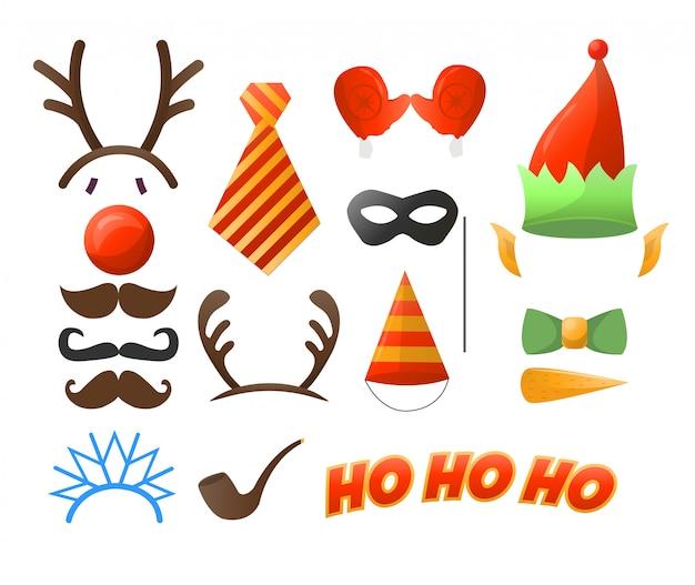 Conjunto de festa de natal óculos, chapéus, bigodes, máscaras