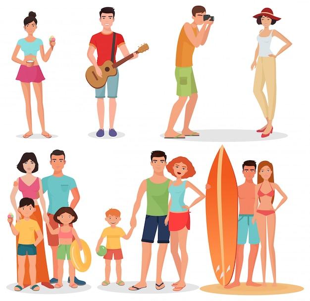 Conjunto de festa de praia pessoas felizes