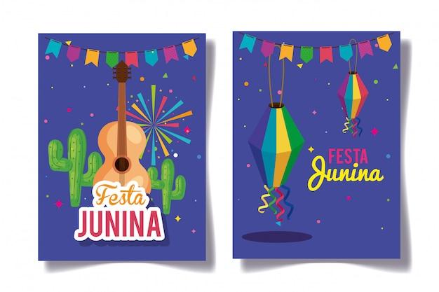 Conjunto de festa junina cartões com decoração
