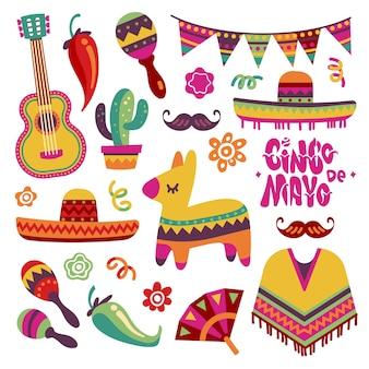 Conjunto de festa mexicana. elementos de festa de cinco de maio sombrero, pinata e pimenta, coleção de guitarra