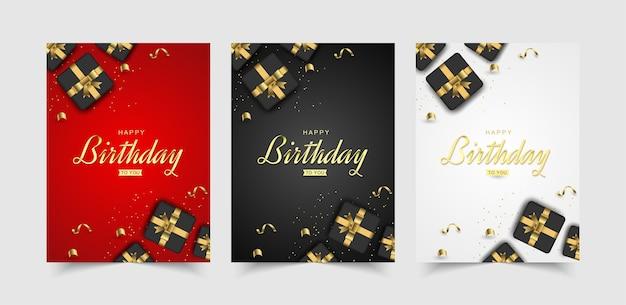 Conjunto de festa moderna de feliz aniversário com caixa de presente realista.