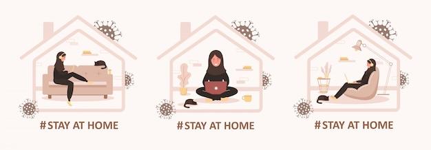 Conjunto de ficar em casa fundo. quarentena ou auto-isolamento. menina árabe com laptop sentado em casa. conceito de cuidados de saúde. medos de contrair coronavírus. pandemia viral global. ilustração plana na moda.