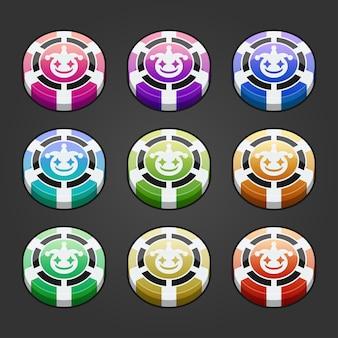Conjunto de fichas de jogo de cassino com ilustração de várias cores