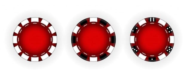 Conjunto de fichas para o casino. jogos de azar. ilustração vetorial. eps10