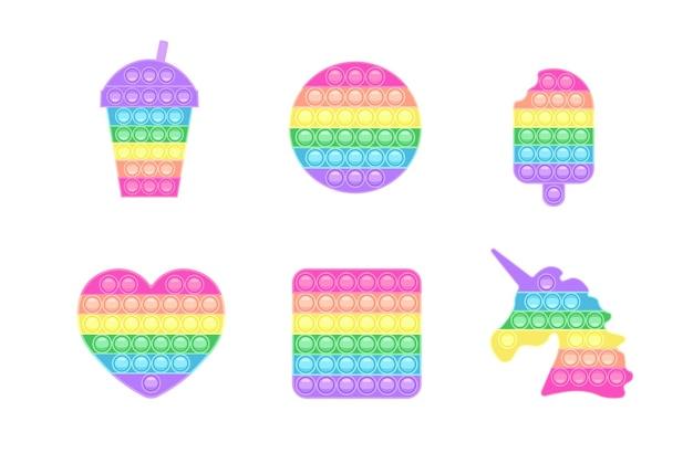 Conjunto de fidget popit jogo antistress moderno brinquedo de mão com bolhas nas cores do arco-íris