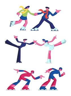 Conjunto de figura e velocidade de patinação no gelo, esportes e atividade de lazer isolado no fundo branco. ilustração plana dos desenhos animados