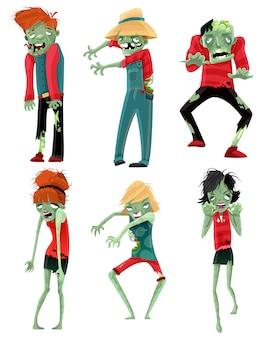 Conjunto de figuras de monstros de monstros de zumbi