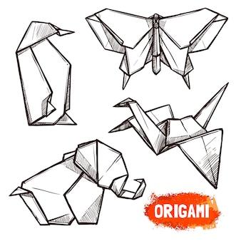 Conjunto de figuras de origami de mão desenhada