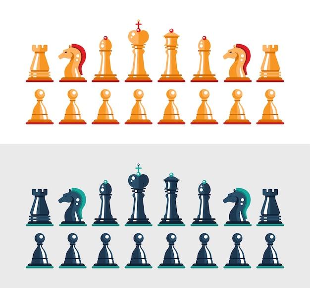 Conjunto de figuras de xadrez preto e branco de design plano isolado