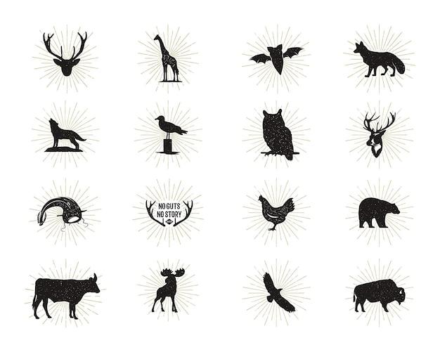 Conjunto de figuras e formas de animais selvagens com sunbursts isolado no fundo branco. silhuetas negras de lobo, veado, alce, bisão, águia, gaivota, vaca e coruja. pacote de formas de animais. vetor.