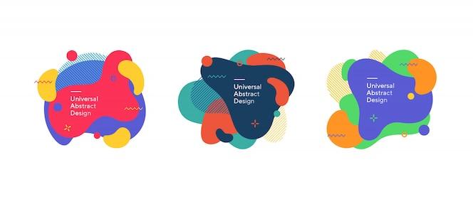 Conjunto de figuras fluidas coloridas abstratas