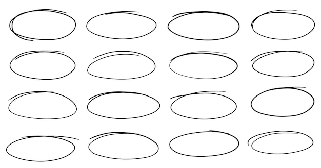Conjunto de figuras ovais desenhadas à mão selecione as molduras do círculo elipses em estilo doodle