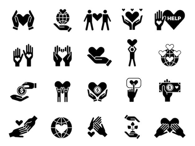 Conjunto de filantropia. contribuir com amor, voluntários, bens, caridades, mãos com símbolos conceituais de corações.