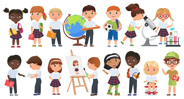 Conjunto de filhos bonitos dos desenhos animados. meninos e meninas da escola com coleção de livros e material escolar.