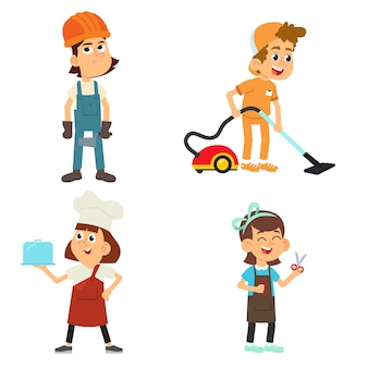 Conjunto de filhos bonitos em várias profissões. meninos e meninas sorridentes de uniforme com ilustrações coloridas de equipamentos profissionais