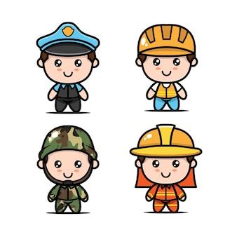 Conjunto de filhos fofos com ilustração do ícone do design de fantasias de ocupações