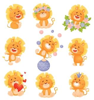 Conjunto de filhotes de leão bonitos dos desenhos animados em cores