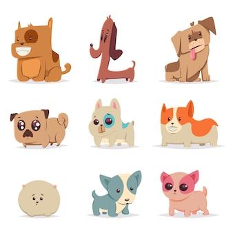 Conjunto de filhotes engraçados bonitos. personagem de vetor de desenho animado de cachorro. ilustração de animais de estimação em casa isolada