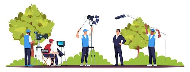 Conjunto de filmes em cor semi rgb. processo de filmagem. bom trabalho em equipe. diretor com os membros de sua equipe. equipamento profissional. ator estrela
