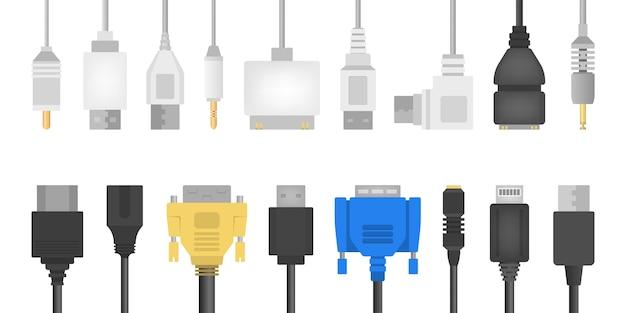 Conjunto de fios de cabo. coleção de conector de áudio e vídeo. tecnologia informática. ilustração em grande estilo
