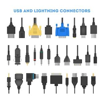 Conjunto de fios de cabo. coleção de conector de áudio e vídeo. tecnologia informática. ilustração solated em grande estilo