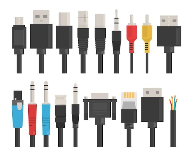 Conjunto de fios de cabo. usb para computador, dispositivo de conexão