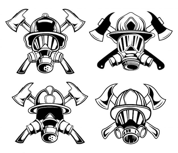 Conjunto de firemans em uma máscara de gás em um capacete.