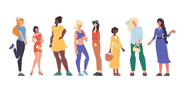 Conjunto de físico diferente de mulher muito multirracial, nacionalidade, aparência.