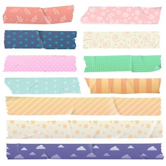Conjunto de fita adesiva com fita washi padrão