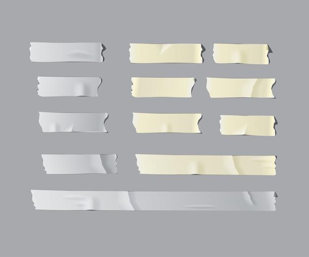 Conjunto de fita adesiva isolado realista isolado em fundo cinza.