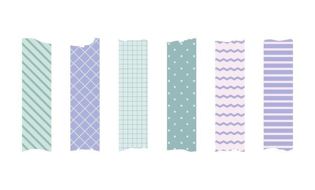 Conjunto de fita adesiva washi. adesivo de papel escocês bonito para álbum de recortes. conjunto de fitas de estilo japonês com fita, elemento decorativo de ponto.